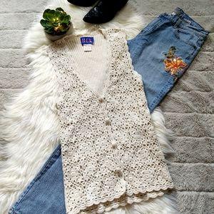 Vintage Cottagecore HER Crochet Button Down Vest